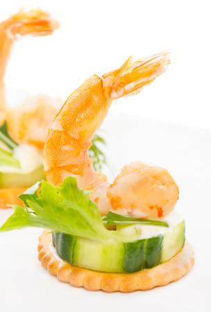 Prawn appetizer. Shrimp with Wasabi Mayonnaise on cucumber bite