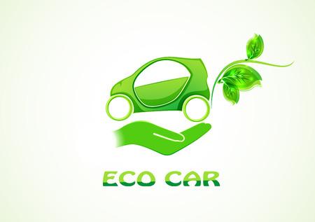 Eco auto concept groene aandrijving met blad symbool, vector illustratie