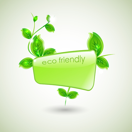 ide: Branch with fresh green leaves and green wave. Abstract ecology background.