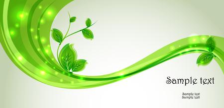 Tak met verse groene bladeren en groene golf. Abstracte ecologieachtergrond.