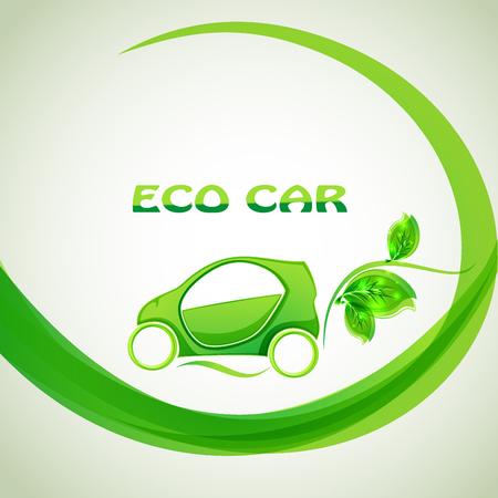 illustrations: Eco car concept green drive with leaf symbol, vector illustration