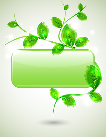 Branch with fresh green leaves - vector eco design Illustration