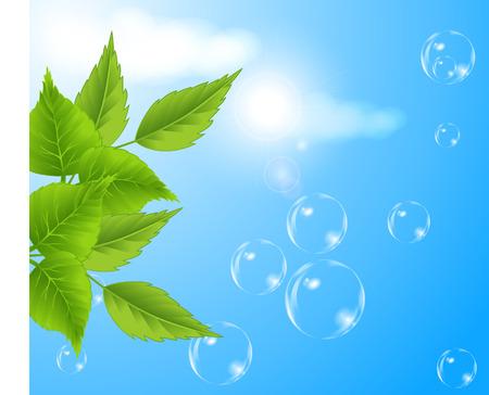 Burbujas contra el cielo azul de fondo
