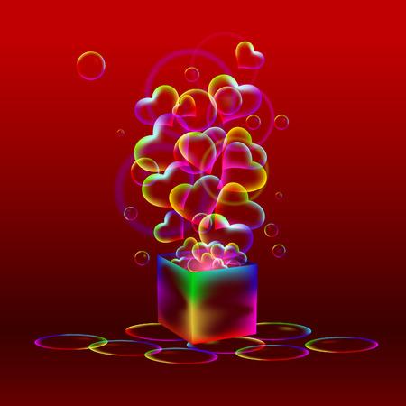 Valentijn Rode Achtergrond - Regenboog cadeau Stock Illustratie