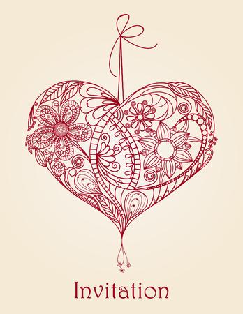 Hart bloemenontwerp, handgetekende illustratie Stock Illustratie