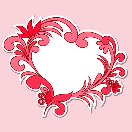 Sticker in de vorm van een hart met florale elementen voor decoratie en ontwerp Stock Illustratie