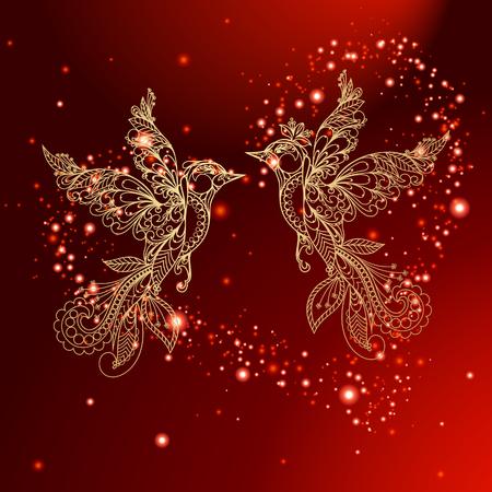 Valentine Red Background - gouden vogel Stock Illustratie