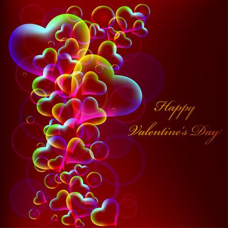 Valentine Red Background - rainbow hearts