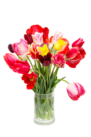 boeket van mooie tulpen in een vaas op een witte achtergrond