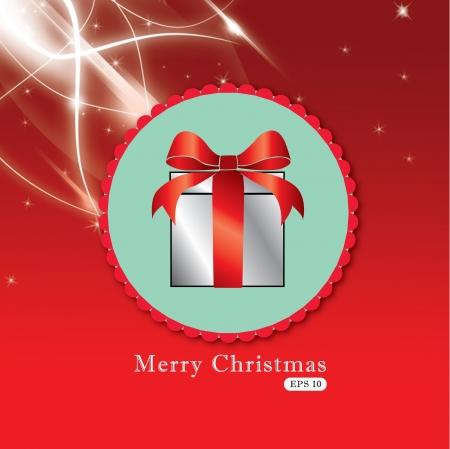 elegant christmas: Illustration - Elegant Christmas gift with red bow  Illustration