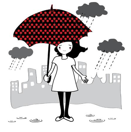 umbella: girl with umbella  Illustration