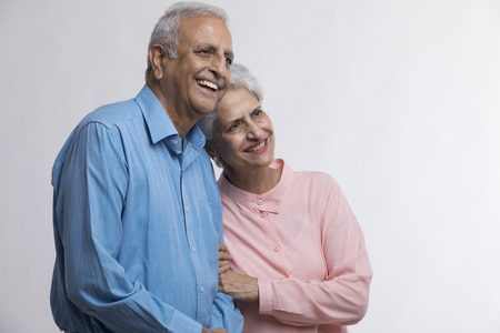 Portrait of senior couple smiling Stock Photo