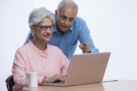 Senior couple looking at laptop and pointing at screen 版權商用圖片