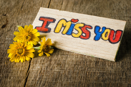 i label: I miss you label with yellow flower