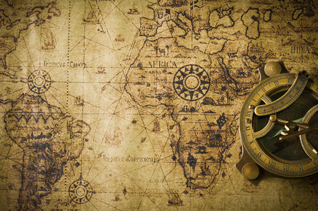 nautical map: old map with compass  Stock Photo