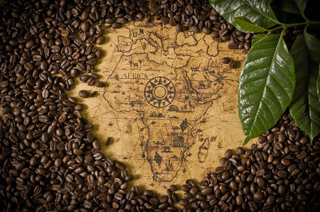 coffee beans with old map photo