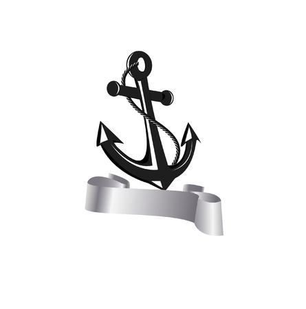 anchored: anchor with rope and ribbon