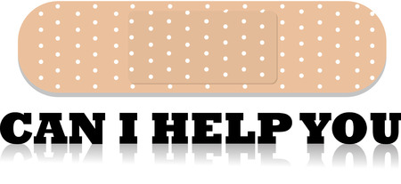 Bandage with can i help you text Illustration