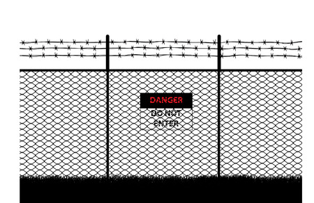 do not enter sign: barbed wire with do not enter sign  Illustration