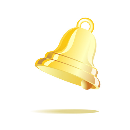 Gold vintage bell isolated on white  Vector
