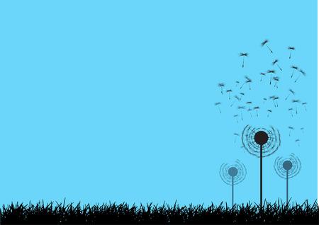 blown: Vector dandelion seeds blown in the wind Illustration