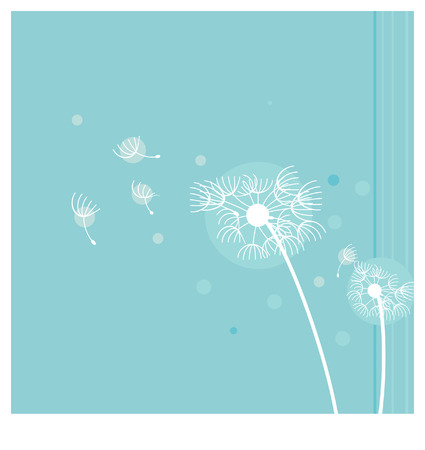 fragile peace: Vector dandelion seeds blown in the wind Illustration