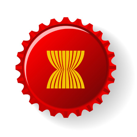 ASEAN Economic Community : AEC on bottle caps Vector