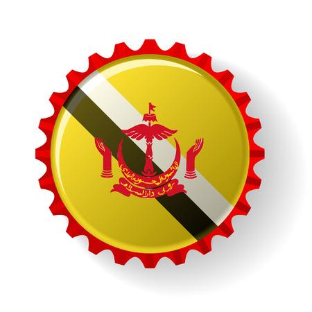 Brunei Darussalam on bottle caps Vector