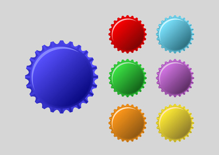 bottle caps in colors isolated on white background Vector