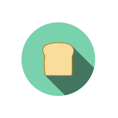 white bread: bread,Flat style with long shadows Illustration