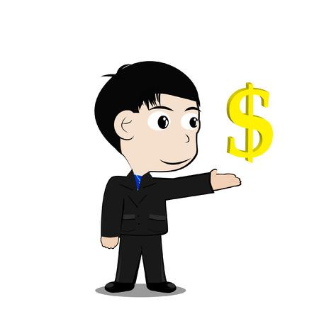 dollar symbol: Businessman with Currency dollar symbol