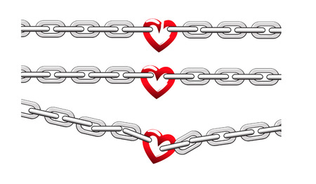 fetter: chain with heart shape on white
