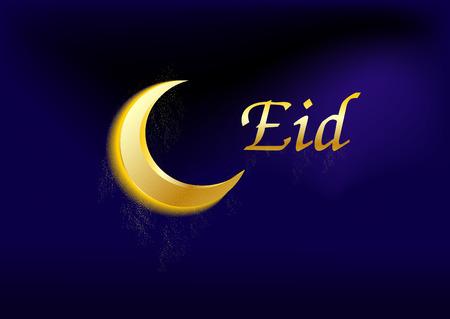 croissant de lune: croissant de lune avec le texte Eid Illustration