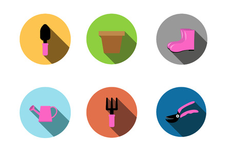 garden tools icon ,Flat style with long shadows