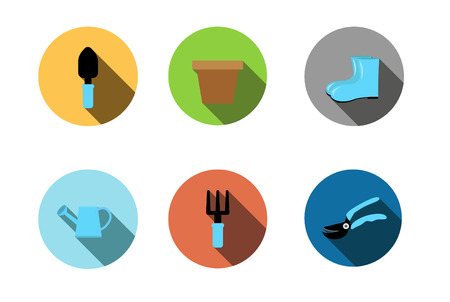 garden tools icon ,Flat style with long shadows Vector