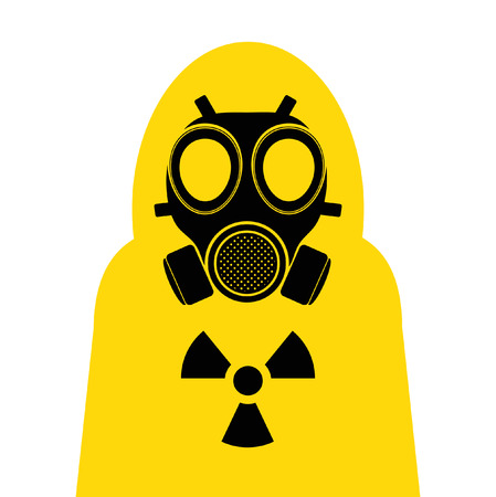 radiation suit: gas mask Yellow suit cover Illustration