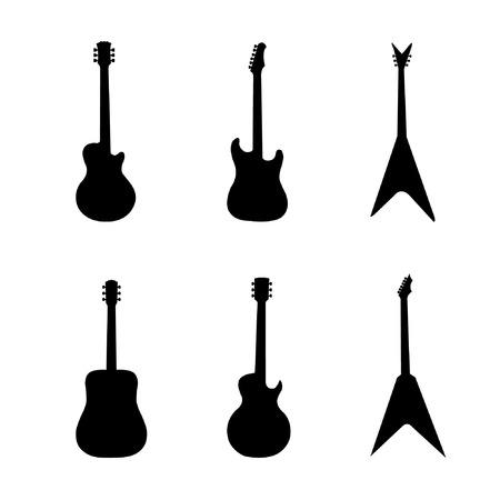 guitar neck: Silhouettes of guitar-vector
