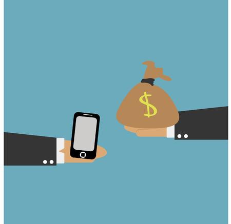 smart phone hand: smart phone on hand and money bag