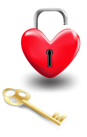 it is isolated: Heart shaped lock and key to it isolated on white background