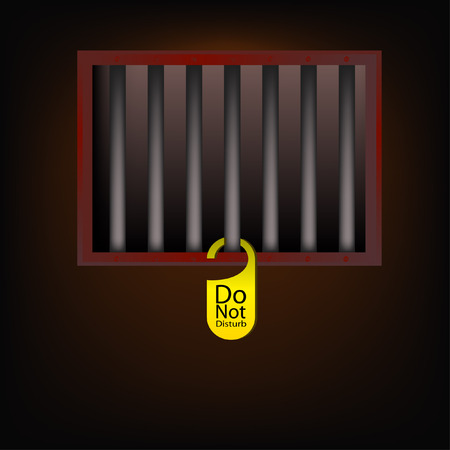 jail cell: jail cell with Do not disturb label