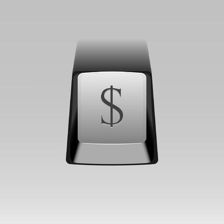 dollar symbol: keyboard button with Dollar symbol
