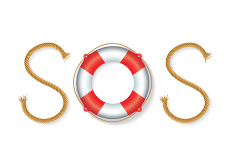sos: rope and float forming SOS signal Illustration