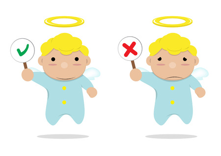wrong: little angels with label Right or wrong Illustration