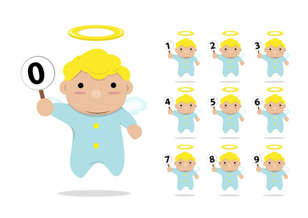 little angels with label 0-9 Vector