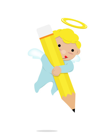 little angels with pencil Vector