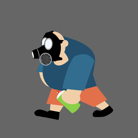 gas man: man with gas mask