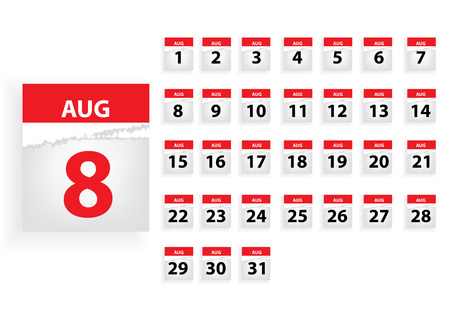 aug: aug Vector months calender