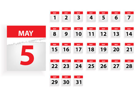 MAY Vector months calender Illustration
