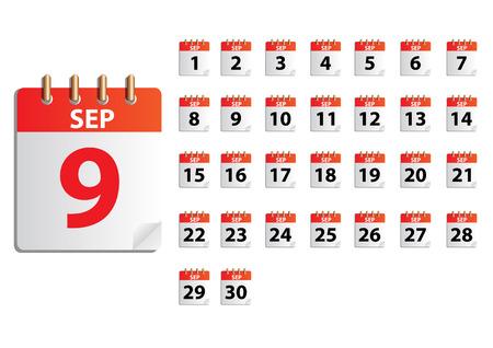 sep: SEP Vector months calender Illustration