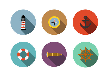 Nautical icon,Flat style with long shadows Vector